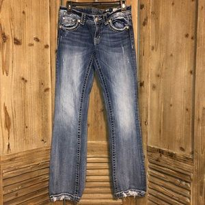 Miss me jeans, slightly distressed, boot cut. 28